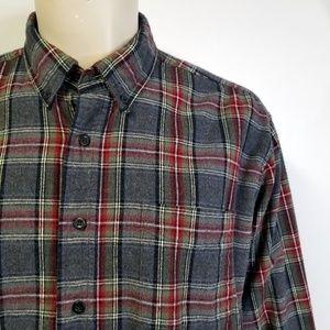 LL BEAN Gray Stewart Plaid Flannel Shirt